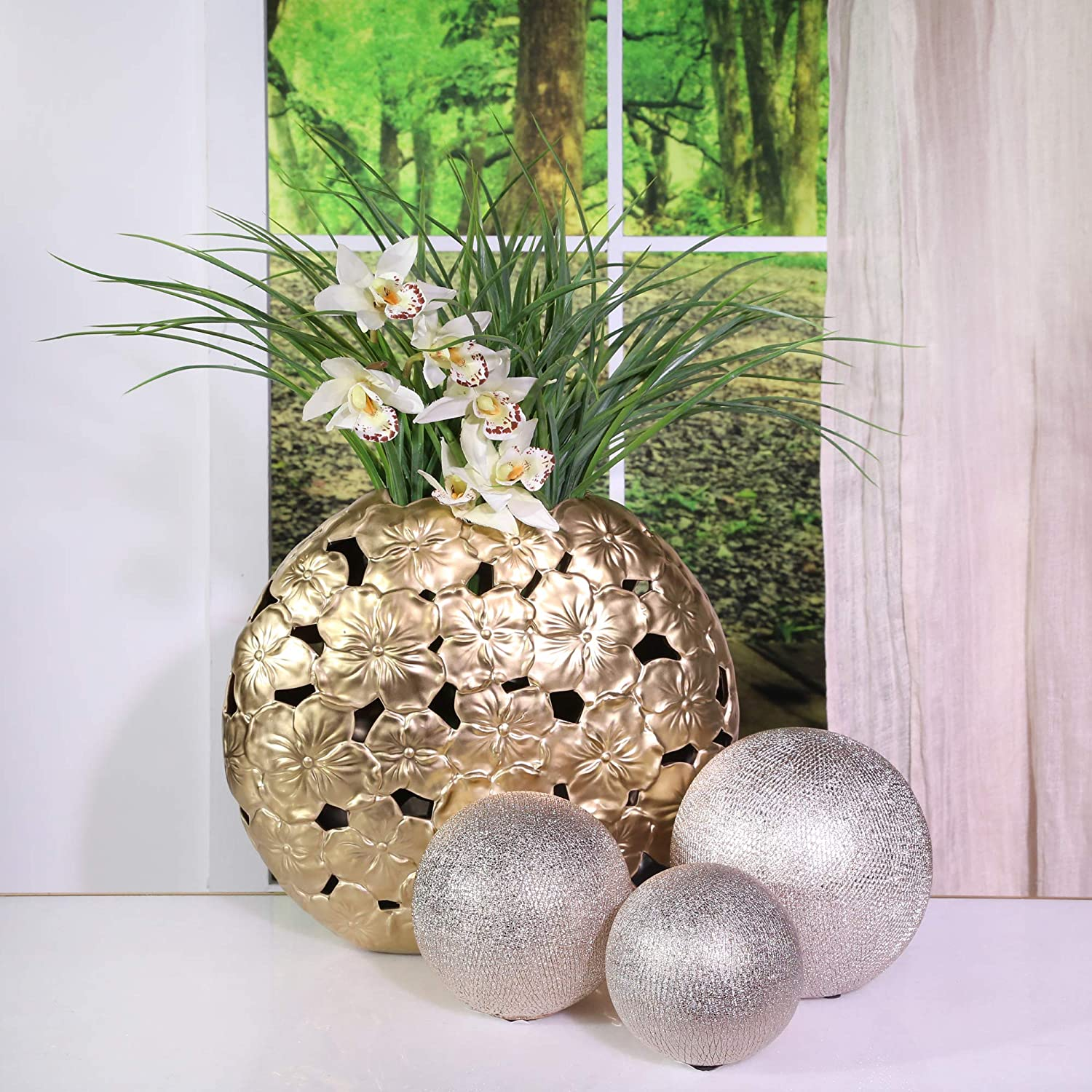 Silver Sagebrook Home 13826-12 Ceramic 6//5//4 Orbs Champagne Set of 3 6 x 6 x 6 inches