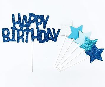 Fait A La Main 6 Comtes De Décoration De Gâteau De Paillettes Pour Le Gâteau Cupcake Et Icecream Set De Joyeux Anniversaire Bleu