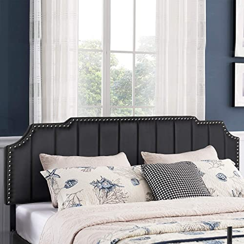 VECELO Faux Leather Upholstered Black King Size Headboards