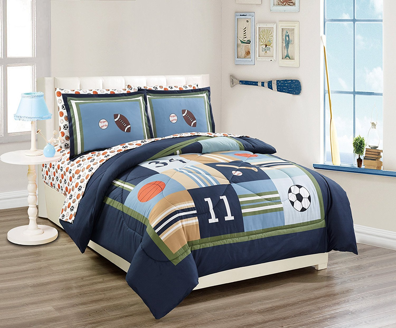 MK Home 5pc Twin Size Comforter Set Sport Navy Blue Green White Orange Brown Boys/Teens Football Basketball Baseball Soccer New