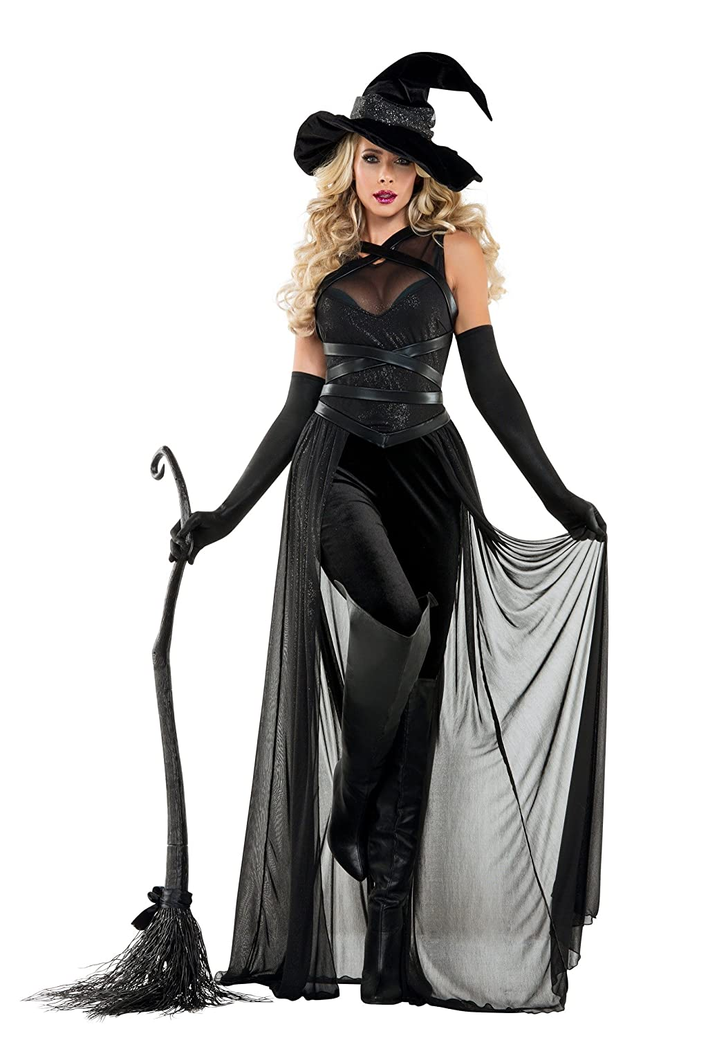 Damens's Raven Witch Fancy dress costume Small