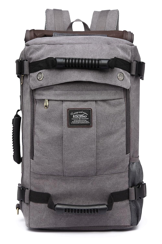 KAUKKO bolsa de viaje Amplia al aire libre Laptop mochila Retro Lona Bolsa de mensajero de 22 litros (Verde Militar)