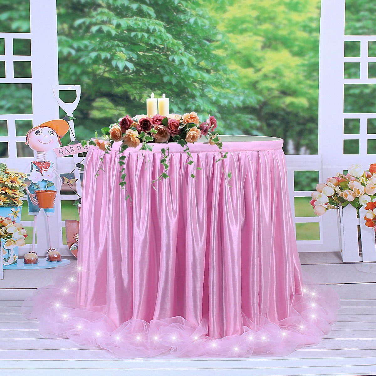 Amazon.com: LED Table Skirt 6ft Pink Tulle Table Skirt Tutu Table ...