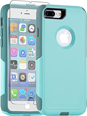 Legfes Pioneer Series Compatible with iPhone 8 Plus Case/iPhone 7 Plus Case, with [Tempered Glass Screen Protector],Military Grade Drop Protection, Dual Layer Slim Rubber Cover with Air Bumpers