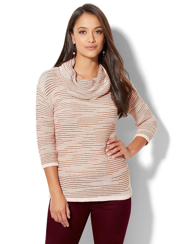 New York & Co. Women's Lurex Stripe Cowl-Neck Sweater