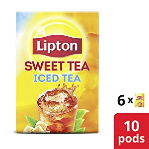 Lipton Iced Tea K-Cups for Keurig brewers Southern Sweet Tea 100% Rainforest Alliance Certified 10 count pack of 6