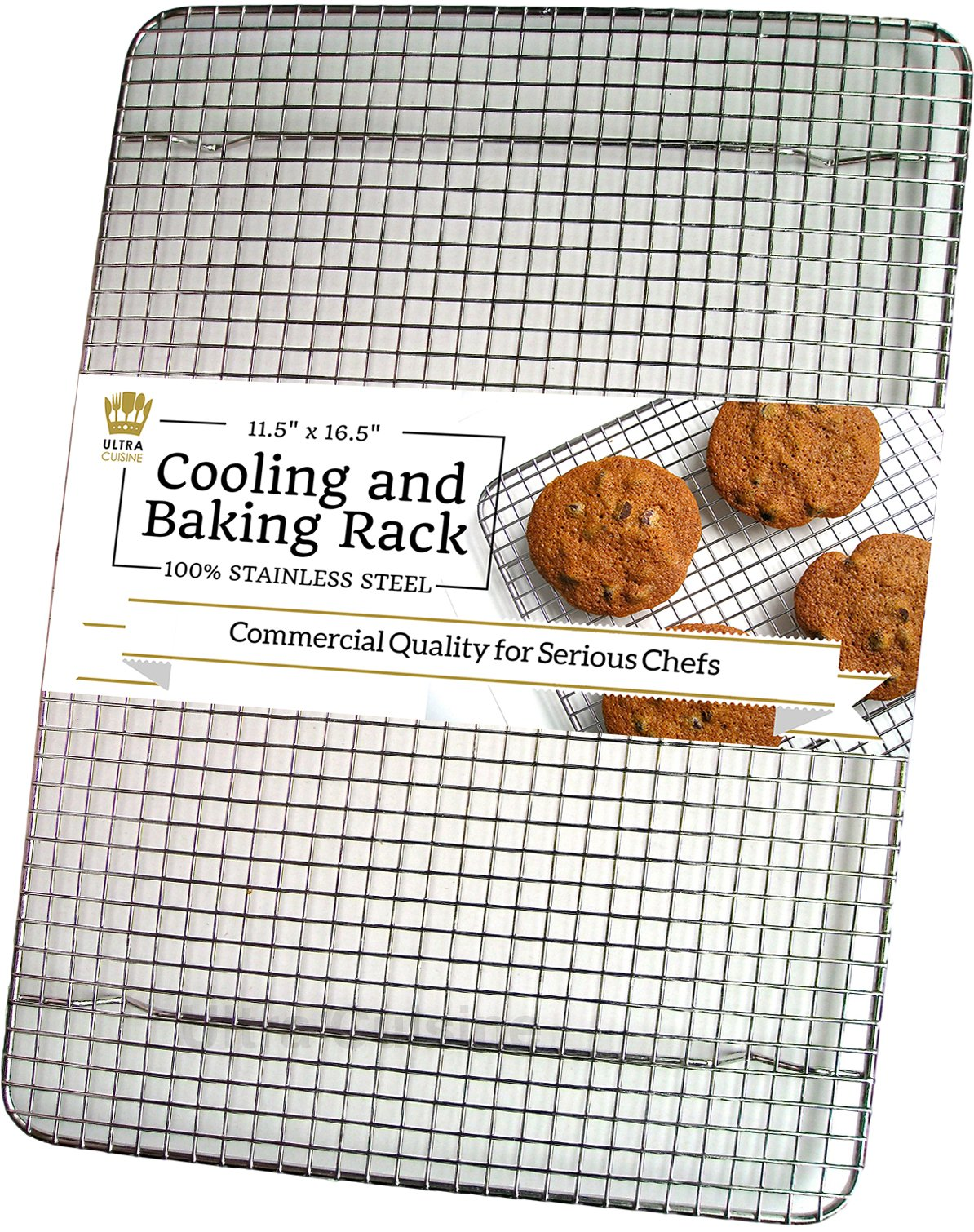 Ultra Cuisine 100% Stainless Steel Wire Cooling Rack for Baking fits Half Sheet Pans Cool Cookies, Cakes, Breads - Oven Safe for Cooking, Roasting, Grilling - Heavy Duty Commercial Quality by Ultra Cuisine