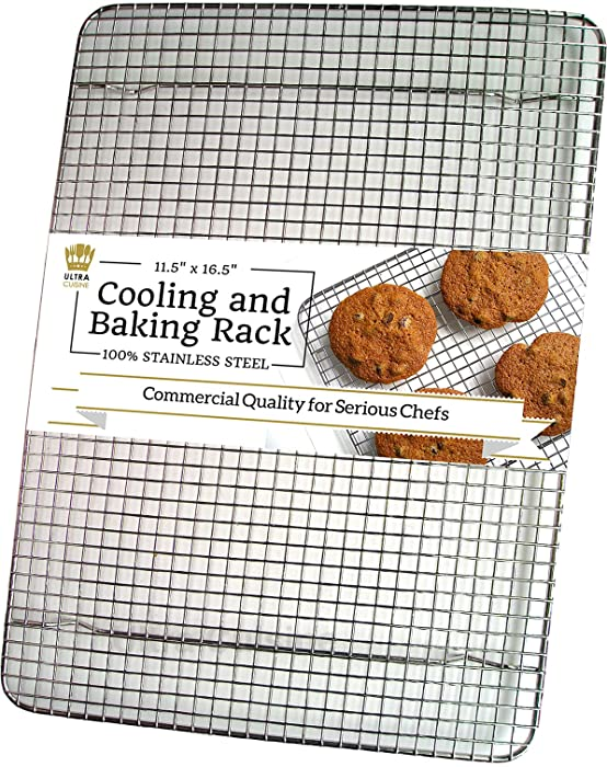 Ultra Cuisine 100% Stainless Steel Wire Cooling Rack for Baking fits Half Sheet Pan – Cool Cookies, Cakes, Breads - Oven Safe for Cooking, Roasting, Grilling - Heavy Duty Commercial Quality