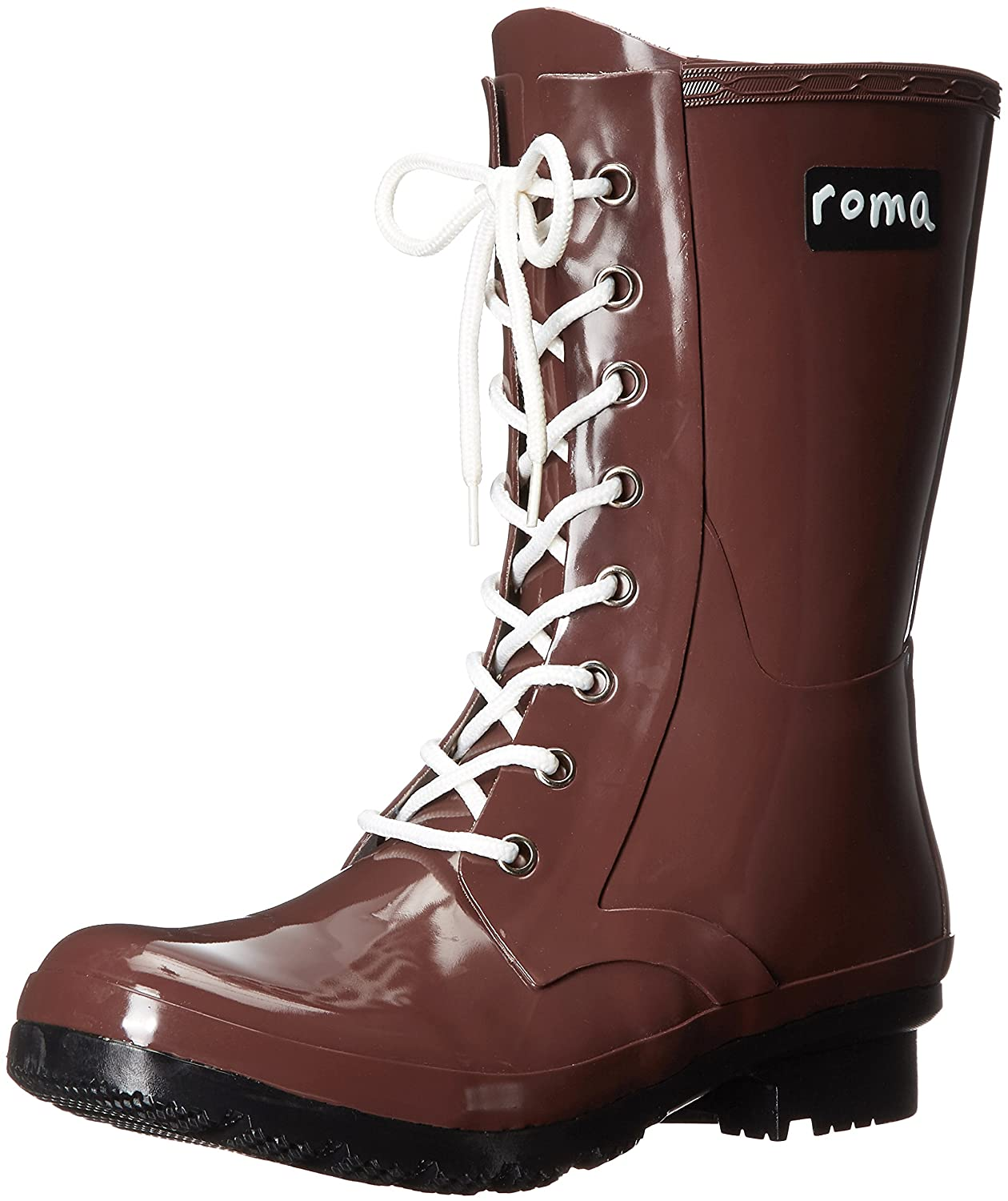 Roma Boots Women's EPAGA Short Lace-up Rain Boots B01L2WNIKS 7 M US|Raisin