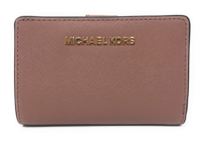 2434df69da5d Michael Kors Jet Set Travel Bifold Zip Coin Leather Wallet Dusty Rose   Amazon.co.uk  Clothing