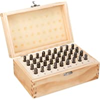 5/32 Inch 4mm Letter and Number Stamp Set 36pcs 40Cr Alloy Steel Metal Stamp Set Number and Letter Punch set in a wooden case
