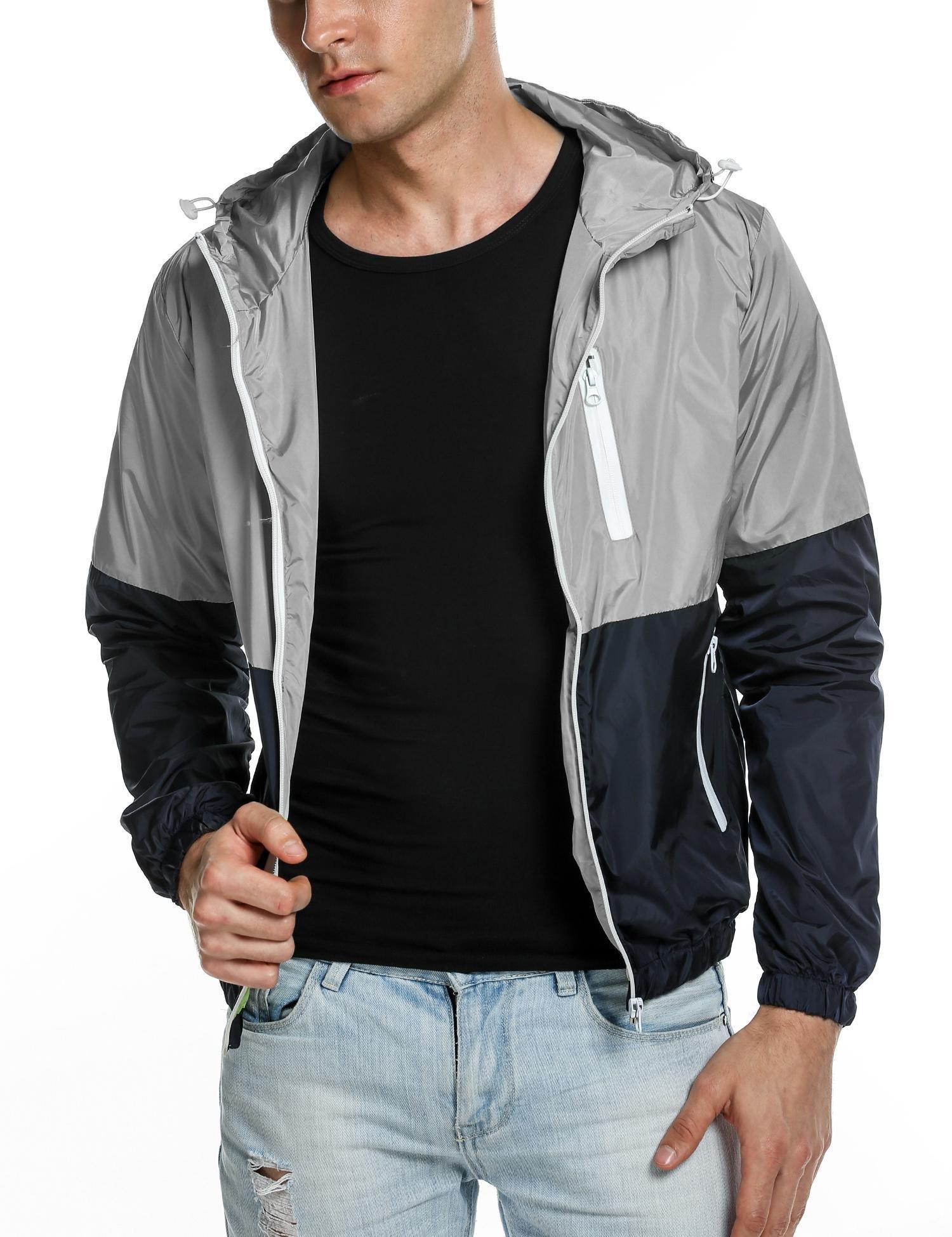 COOFANDY Mens Quick Dry Windbreaker Summer Lightweight Hooded Sun Protection Outwear,Gray,Medium