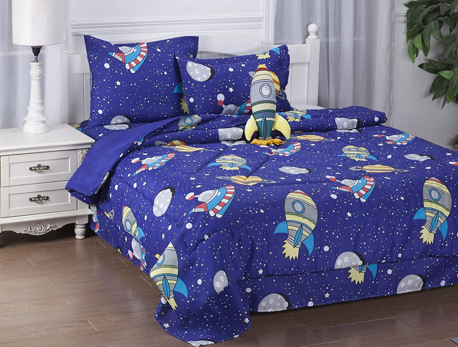 GorgeousHomeLinen 6-PC Twin Complete Bed in A Bag Comforter Bedding Set with Furry Friend and Matching Sheet Set for Kids (Twin, Space Sky Rockets)