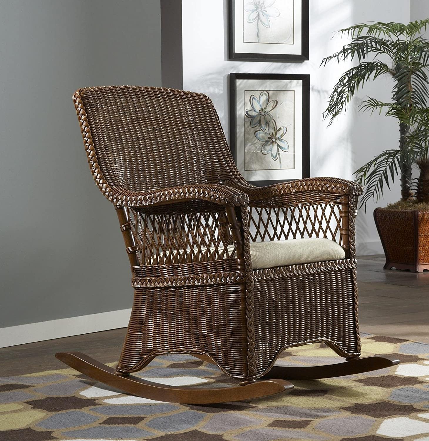 Amazon Wicker Indoor Rocking Chair with Cushion Baby