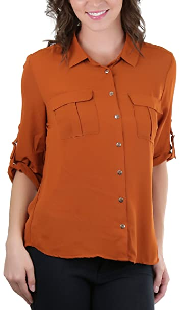 c648ef70 ToBeInStyle Women's D-Ring 3/4 Sleeve Button Down Shirt - Amber - Small