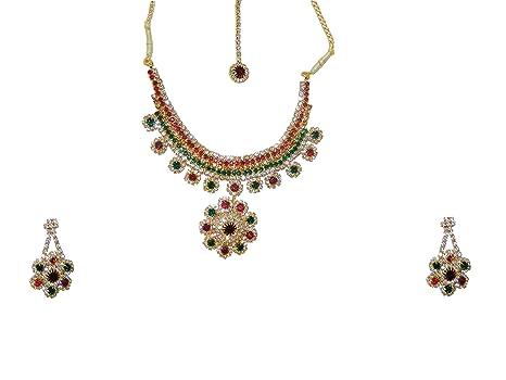 d32e5fe603cf Bollywood Conjunto Joyas Deepika Rojo Verde con bindis y brazaletes Indios  Joyas Set Sari joyería Accesorios