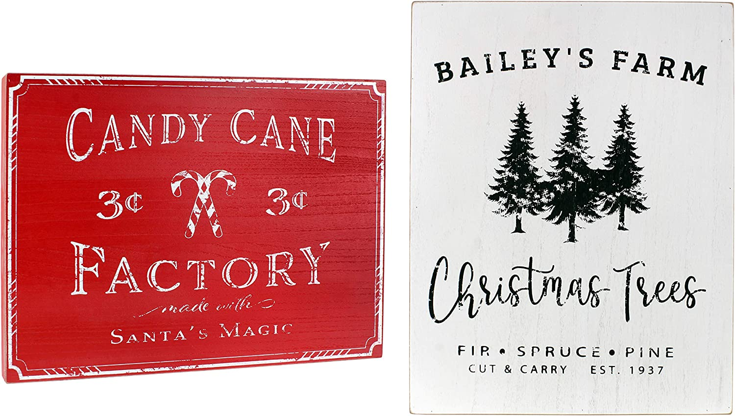 Auldhome Vintage Christmas Wall Art 2 Picture Set Farmhouse Style Wood Signs Christmas Tree Farm And Candy Cane Factory Holiday Wall Decor 17 X 13 Inches Large Pictures Amazon Ca Home Kitchen