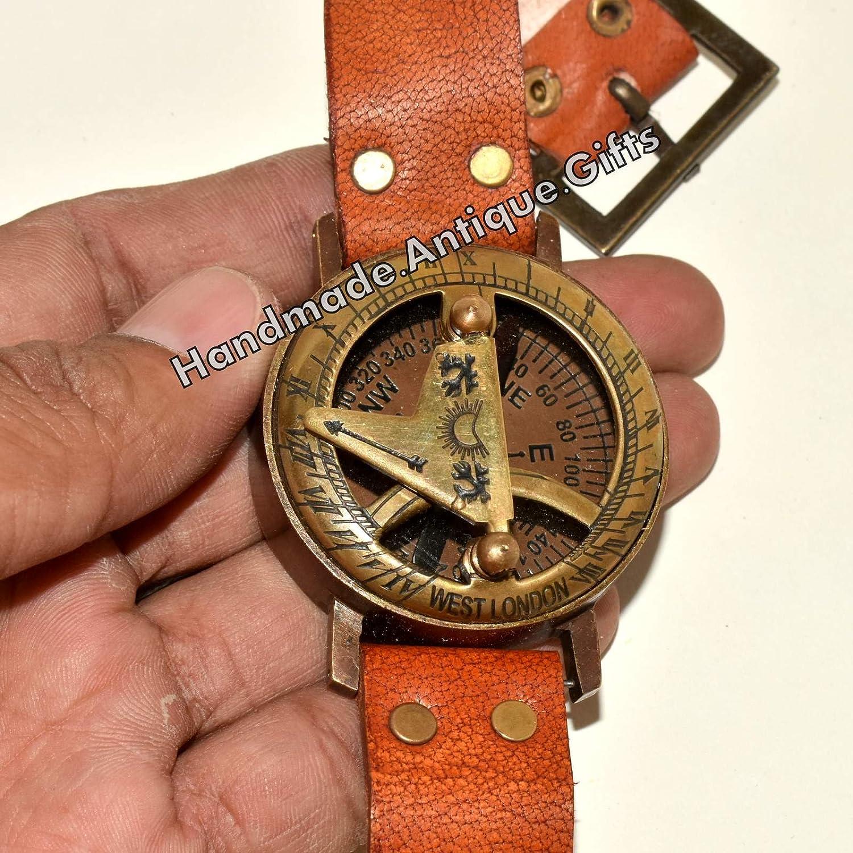 日時計コンパス真鍮腕時計Maritime Functional Marine刻印ポケット B072C8NK87