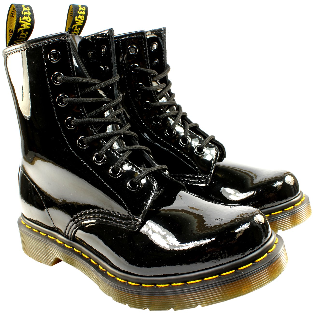 Womens Dr Martens 1460 W 8 Eyelet Patent Lamper Army Combat Lace Up Boot B00KN2DSMC 5 B(M) US|Black