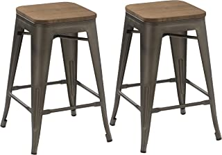 BTEXPERT 24-inch Industrial Antique Copper Distressed Metal Stackable Tabouret Dining Modern Steel Bar stools  sc 1 st  Amazon.com & Amazon.com: BTEXPERT 24-inch Industrial Metal Vintage Antique ... islam-shia.org