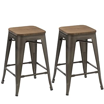 Astounding Btexpert 24 Inch Industrial Antique Copper Distressed Metal Stackable Tabouret Dining Modern Steel Bar Stools Handmade Wood Top Seat Set Of Two Bar Squirreltailoven Fun Painted Chair Ideas Images Squirreltailovenorg