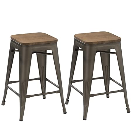 BTEXPERT 24-inch Industrial Antique Copper Distressed Metal Stackable Tabouret Dining Modern Steel Bar stools Handmade Wood top seat Set of Two Bar stools