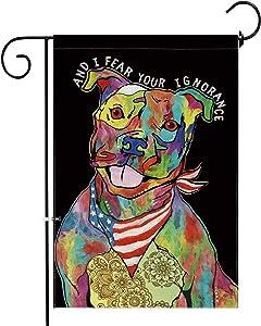 Hexagram Pit Bull Terrier Garden Flag Burlap Double Sided Decorative Colorful Art Dog Yard Flag 12x18 inch Prime