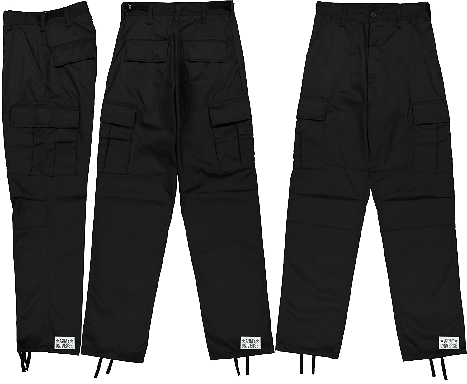 Amazon.com  Mens Black Poly Cotton Military Army Fatigues Work Utility  Uniform Cargo BDU Pants with Pin  Clothing 2fbdbe955805