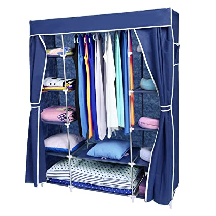 Lovely Homdox Portable Clothes Closet Wardrobe Organizer Storage With Curtain And  2 Side Pockets (Sliver White