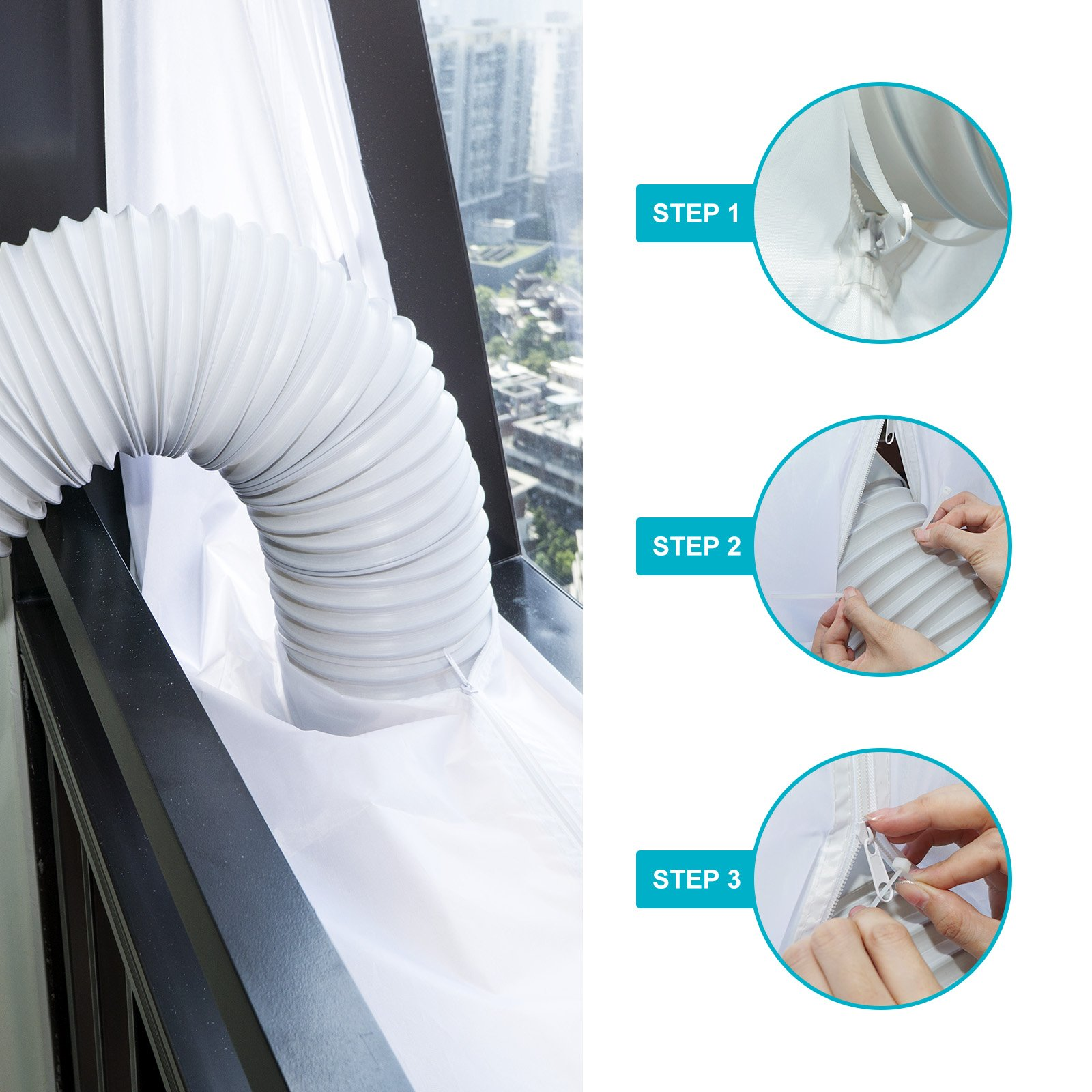 HOOMEE 300 cm Universal Window Seal for Portable Air Conditioner and Tumble Dryer – Works with Every Mobile Air-Conditioning Unit, Easy to Install - Air Exchange Guards with Zip and Adhesive Fastener by HOOMEE (Image #5)
