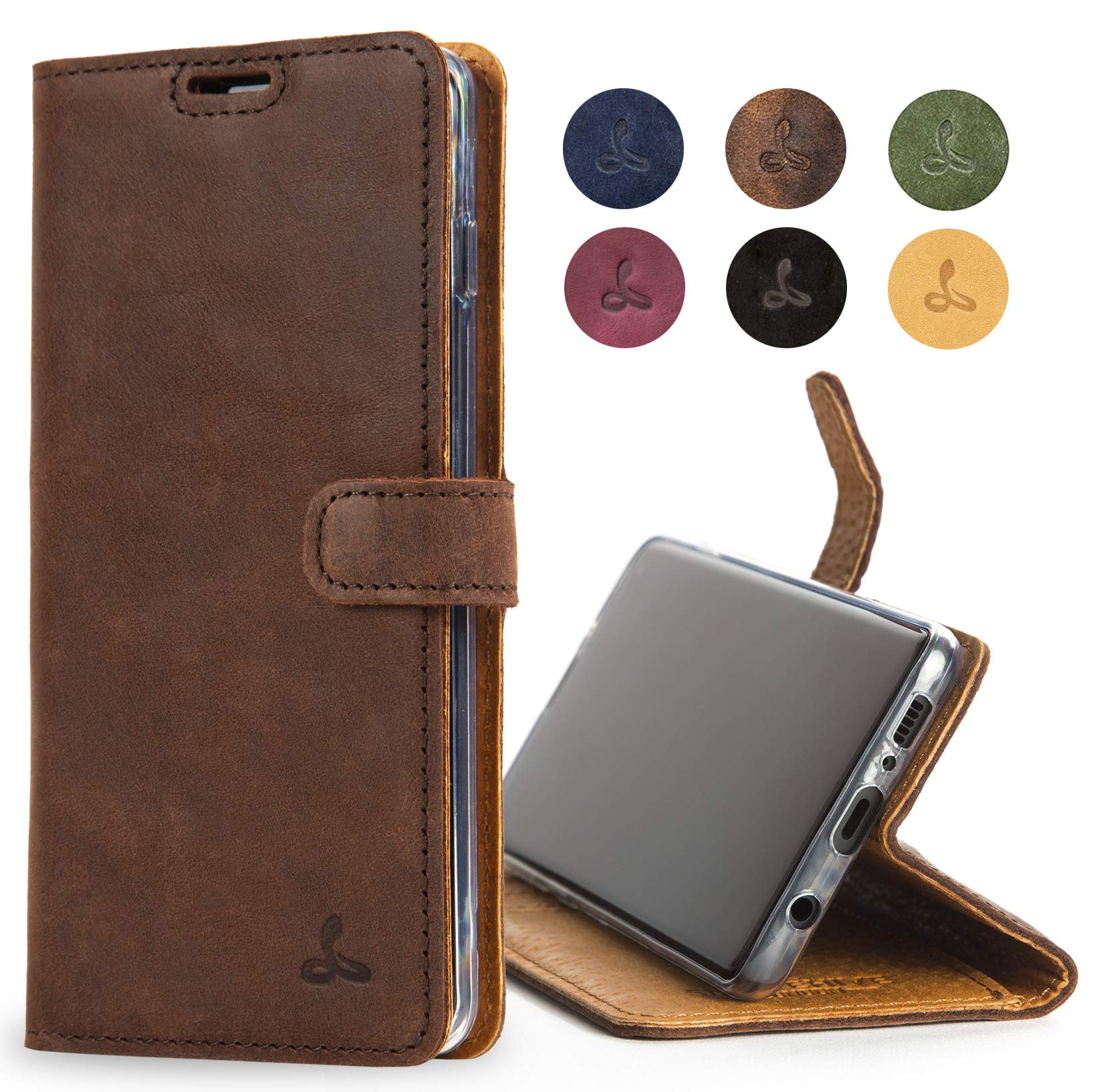 Snakehive Samsung Galaxy S10 Case, Luxury Genuine Leather Wallet with Viewing Stand and Card Slots, Flip Cover Gift Boxed and Handmade in Europe for Samsung Galaxy S10 - (Brown)