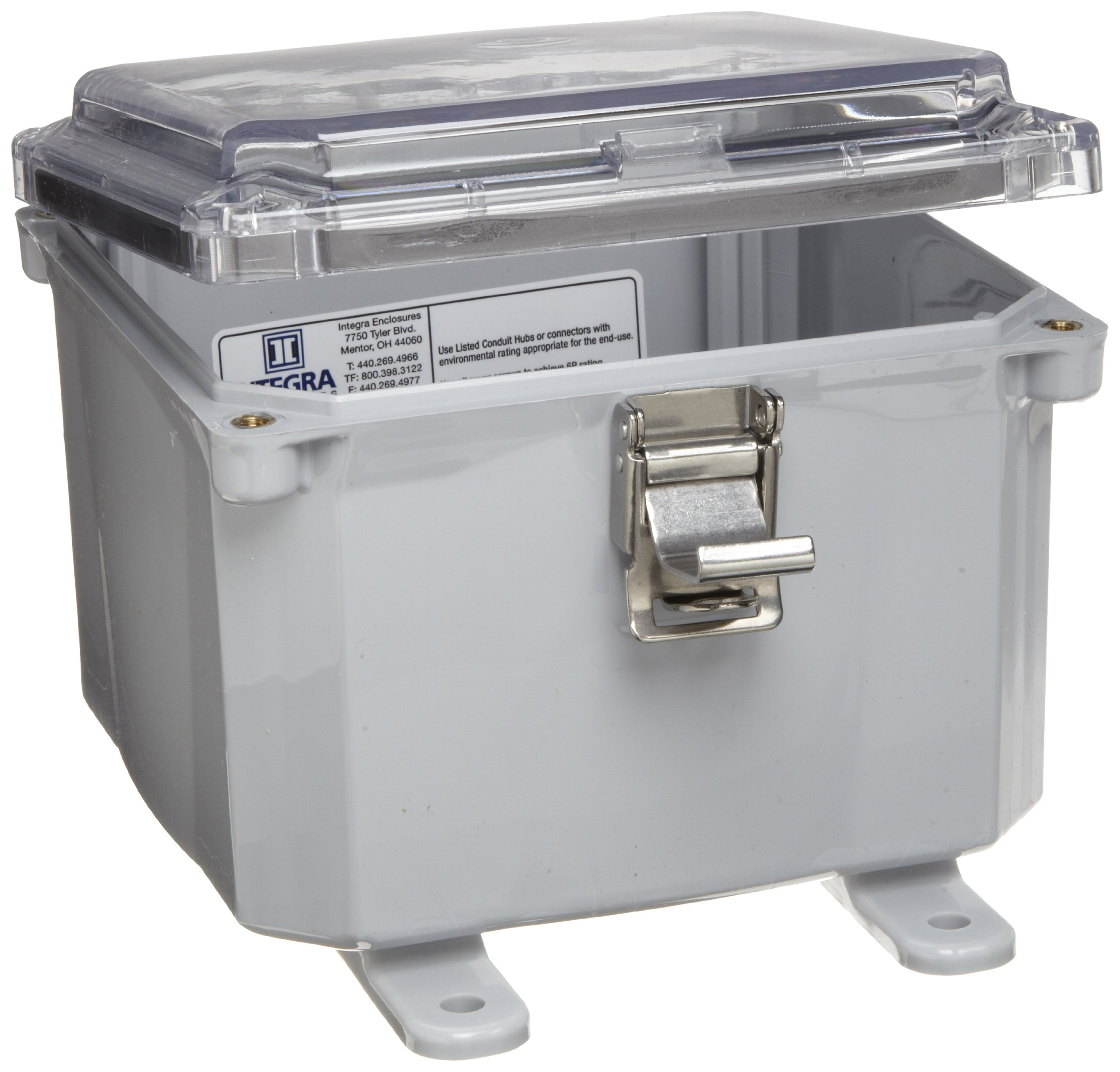 Integra H6064HCLL Premium Line Enclosure, Hinged, Locking Latch Cover, Clear Cover, Mounting Feet, 6'' Height, 6'' Width, 4'' Depth