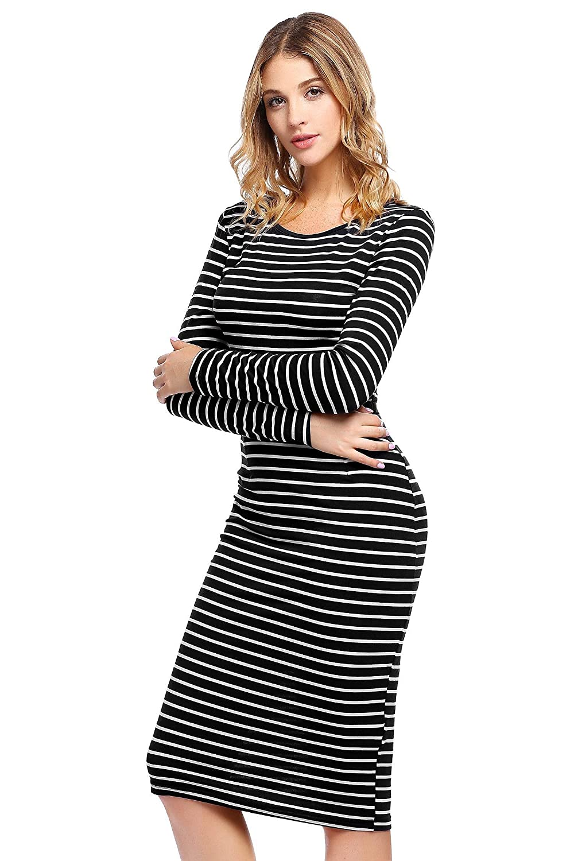 f550f4d4cac4 ELESOL Women's Long Sleeve Midi Dress for Fall Black White L at Amazon  Women's Clothing store: