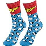 Bioworld (1 Pair) Women's Wonder Woman Crew Socks, D.C. Comic Books, Fits Women Shoe Size 5-10