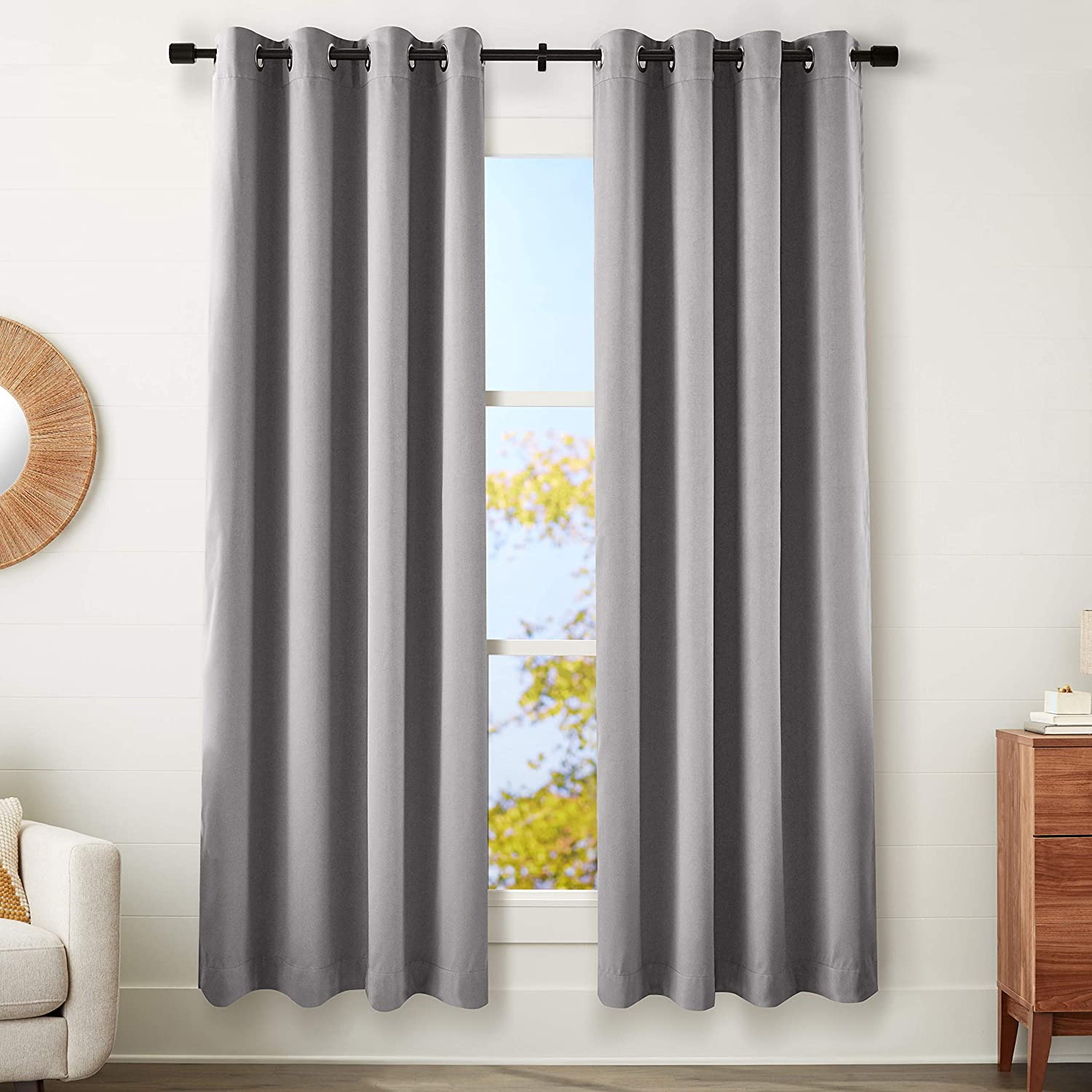 """AmazonBasics 99% Room Darkening Theatre Grade Heavyweight Window Panel with Grommets and Thermal Insulated, Noise Reducing Liner - 52"""" x 95"""",Charcoal Grey"""