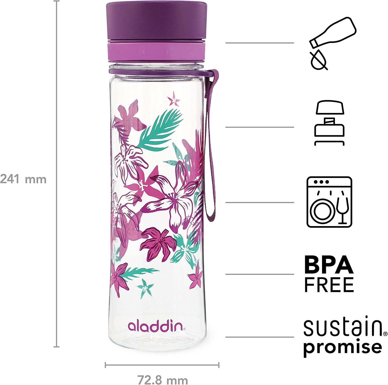 Bec verseur Large Ouverture pour Un Remplissage Facile Traitement Anti-Taches et Anti-odeurs Passe au Lave-Vaisselle /Étanche sans BPA Graphics Aladdin Aveo Water Bottle 0.35L Rouge