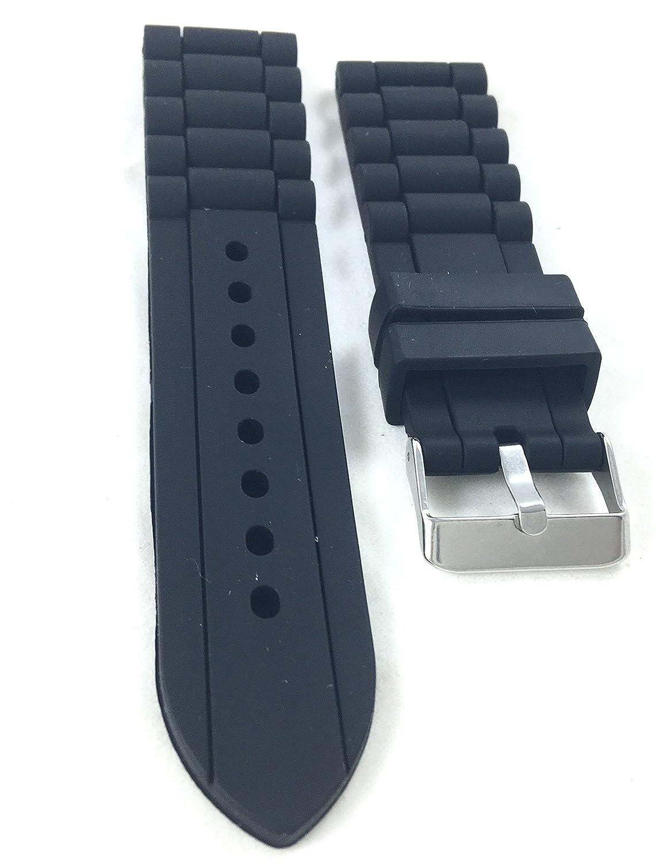 24 mm negro deporte cadena enlace suave caucho de silicona reloj ...