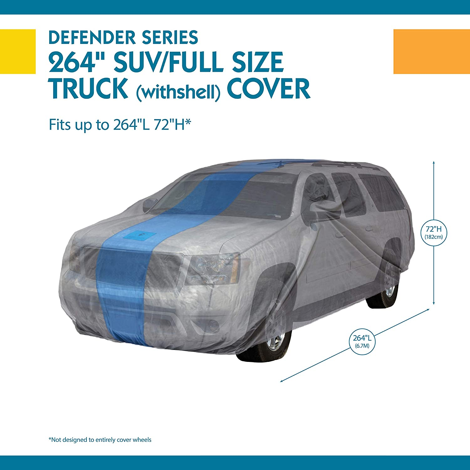 Duck Covers Defender SUV Cover for SUVs//Pickup Trucks with Shell or Bed Cap up to 17 5