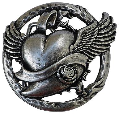 0d84c96b993c Fronhofer Boucle de ceinture argentée coeur ronde 4 cm pour femme, boucle  coeur volant, flying heart buckle, 18070, Couleur Argenté, Taille One Size   ...