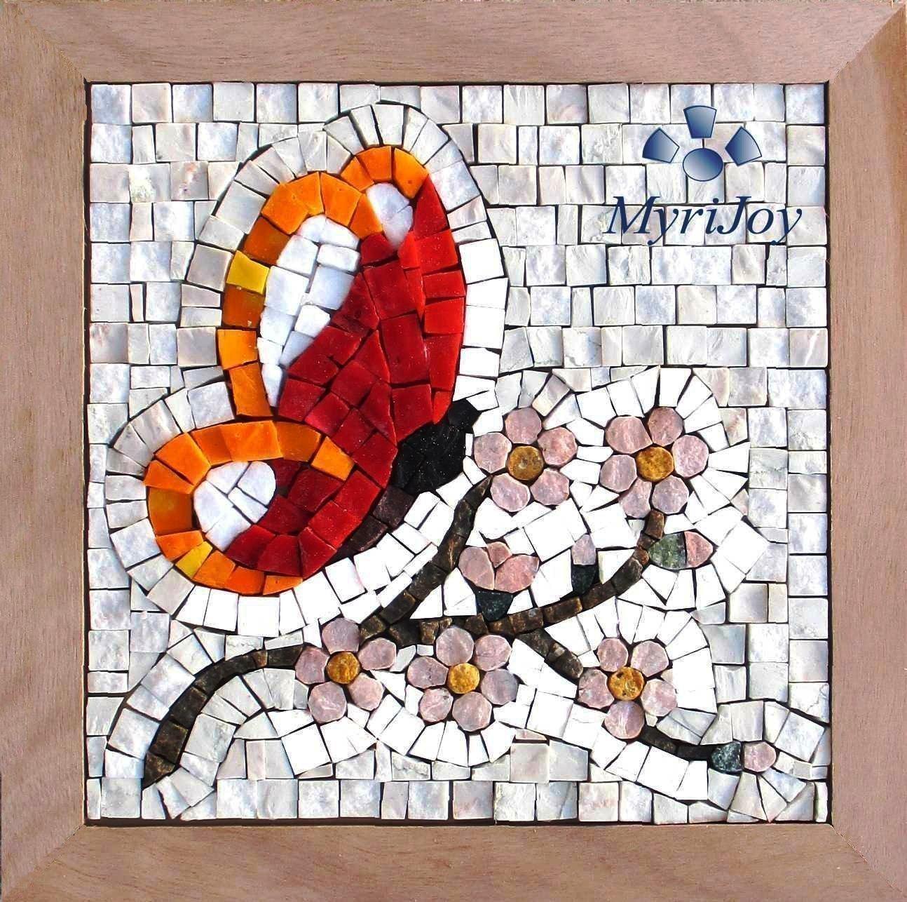 Original gift ideas Mosaic art kit Four Seasons Spring 9''x9'' / Italian marble mosaic tiles & Murano glass mosaic tiles/Mosaic supplies/Arts and crafts for adults/Mosaic making kit