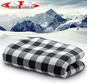 12V Car Truck Heated Blanket Electric Fleece Travel Heating Seat Blanket Throw Automotive Vehicle Road Travel Trip RV Soft Polar Fleece Winter Cold Weather- Anti-Flammable Material (White / Black)