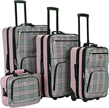 4-Piece Rockland Beautiful Deluxe Expandable Luggage Set