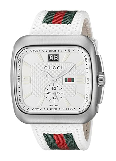 aeb90fda968 Gucci Ya131303 131 Coupe Gents Watch You. Gucci Coupe Grey Dial Leather  Strap ...
