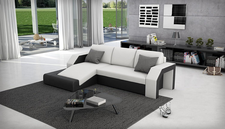 SAM® Ecksofa Milagro 145 x 281 cm in weiß schwarz in einem futuristischen Design verfügt über Strauraum pflegeleichte Oberfläche Lieferung mit einer Spedition zerlegt