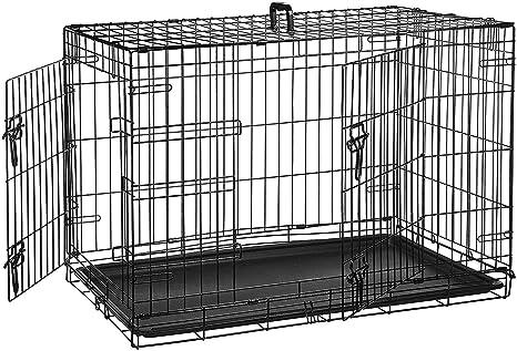 AmazonBasics - Jaula plegable de metal para mascota (dos puertas ...