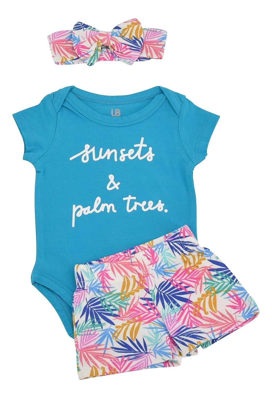 Unique Baby Girls Palm Leaf Print Onesie Shorts Headband 3 Piece Layette