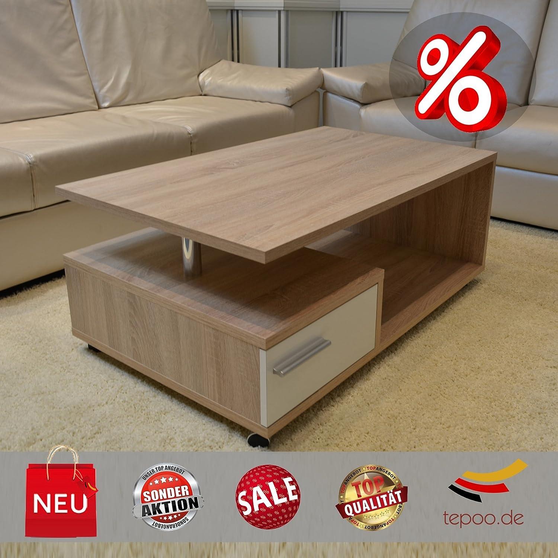 Couchtisch sonoma eiche glas  Couchtisch Glas Glastisch Tisch Sonoma Eiche mit Schublade auf ...