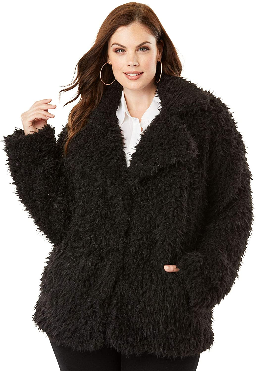 d4eaea1925 Roamans Women s Plus Size Teddy Fleece Coat at Amazon Women s Coats Shop
