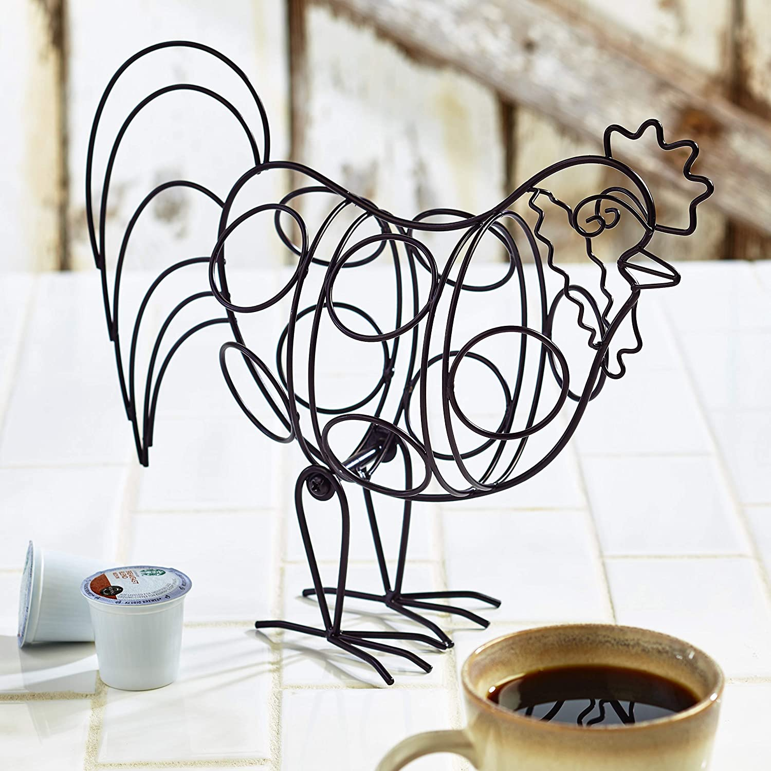 Country Rooster 8 Cup Coffee Pod Holder - Farmhouse Kitchen Decoration