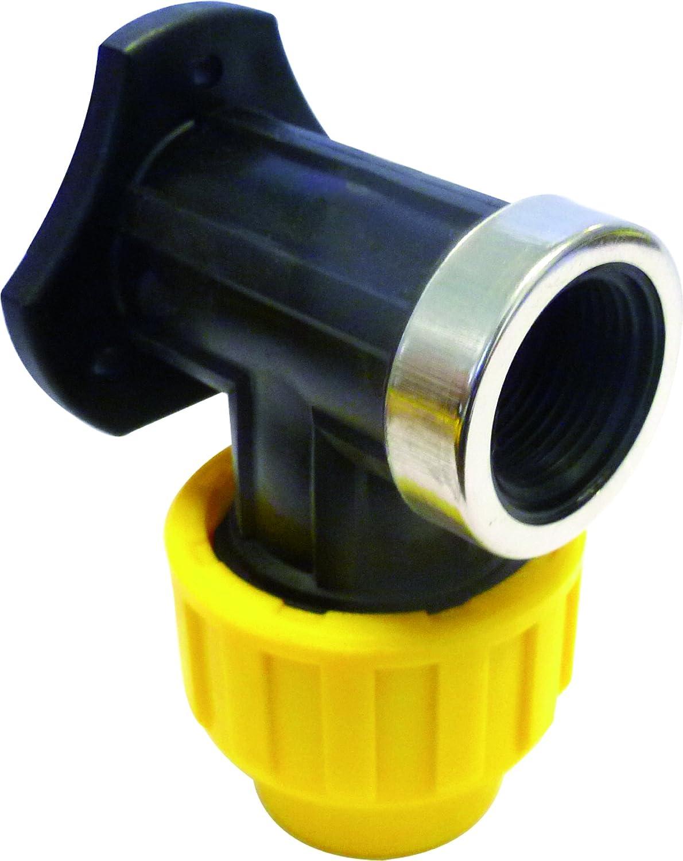 """S&M 725876 Codo Grifo con Refuerzo Acero Inoxidable para tubería 25 mm-3/4"""", Negro y Amarillo, 25 mm"""